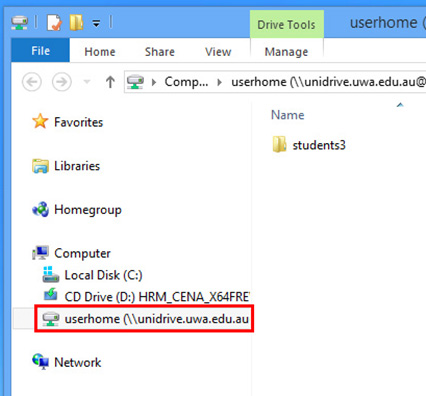 win 8 webdav final step: home folder now accessible from File Explorer